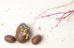 Chocolate eggs covered with colorful edible sprinkles. Chocolate eggs covered with edible sprinkles and tree branch Stock Photos