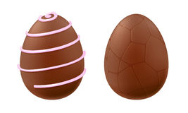 Chocolate eggs decorated with lines and cracks. Stock Photos