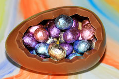 Chocolate eggs at Easter Stock Photos