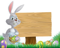Chocolate eggs and Easter bunny sign Royalty Free Stock Photography