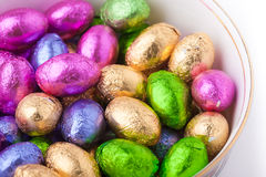 Chocolate eggs in foil Royalty Free Stock Photography