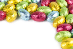 Chocolate eggs frame Royalty Free Stock Images