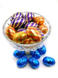 Chocolate eggs II. A close-up of different chocolate easter eggs in colorful wrapping. version II Royalty Free Stock Photos