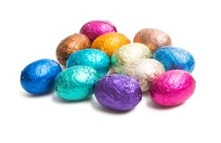 Chocolate Eggs In Color Foil Isolated Royalty Free Stock Image