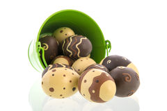 Chocolate Eggs In Green Bucket Royalty Free Stock Photo