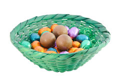 Chocolate eggs. Isolated colorful chocolate eggs in a green basket Royalty Free Stock Photo