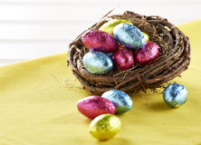 Chocolate Eggs in nest Stock Photography