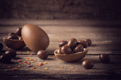 Chocolate  Eggs Over Wooden Background Royalty Free Stock Photo