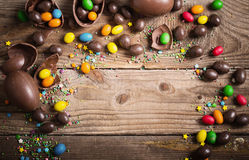 Chocolate  Eggs Over Wooden Background Stock Image