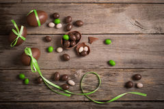Chocolate  Eggs Over Wooden Background Royalty Free Stock Photography