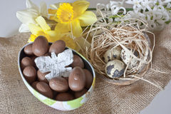 Chocolate eggs and quail eggs Royalty Free Stock Photos