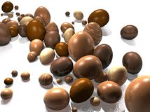 Chocolate eggs stream. Chocolate Easter Eggs Stream on White Reflective Background stock illustration