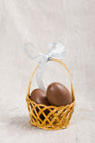 Chocolate eggs in a wicker basket Royalty Free Stock Photography