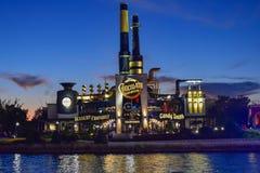 Chocolate Emporium Restaurant on blue night background in Citywalk at Universal Studios area. stock images