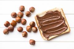 Chocolate espalhado com pão Fotografia de Stock Royalty Free