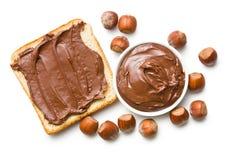 Chocolate espalhado com pão Fotografia de Stock