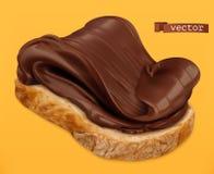 Chocolate espalhado no pão ícone realístico do vetor 3d ilustração do vetor