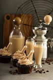 Chocolate espresso cupcakes with irish cream liquor. Infusers Stock Photography