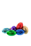 Chocolate ester eggs on white background Royalty Free Stock Photo