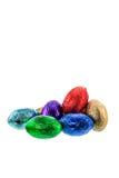 Chocolate ester eggs on white background Royalty Free Stock Photo