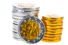 Chocolate Euro coins Stock Photography