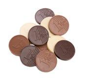 Chocolate euro coins, isolated on white backdrop Stock Photos