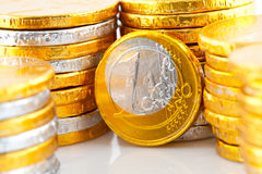 Chocolate euro money in closeup Stock Images