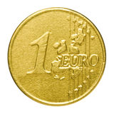 Chocolate euro in a wrapper. On a white background Stock Photos