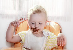 Chocolate on face Stock Photos