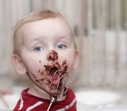 Chocolate on face Royalty Free Stock Photos