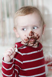 Chocolate on face Royalty Free Stock Images