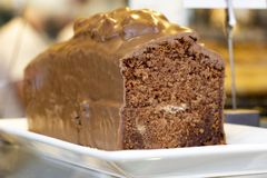 Feast of chocolate in cake stock photography