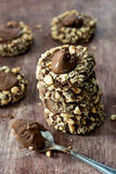 Chocolate filled cookies with hazelnuts Royalty Free Stock Photography