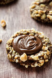 Chocolate filled cookies with hazelnuts Stock Image