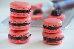 Chocolate filled macarons Royalty Free Stock Images