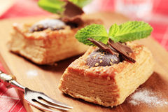 Chocolate filled puff pastry Stock Photo