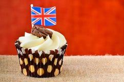 Chocolate flake cupcake with Union jack flag. Stock Photos