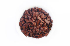 Chocolate flake on white Royalty Free Stock Images