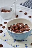 Chocolate flakes with milk. Chocolate flakes in the bowl with milk Royalty Free Stock Images