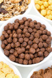 Chocolate flakes and breakfast cereals, close-up Stock Image