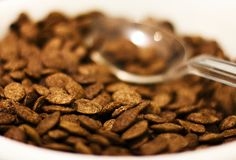 Chocolate flakes with spoon for breakfast. Selective focus. Macr royalty free stock photos