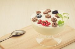 Chocolate flakes with yogurt and berries in glass bowl/chocolate flakes with yogurt and berries in glass bowl on a wooden tray. royalty free stock photos