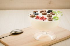 Chocolate flakes with yogurt and berries in glass bowl/chocolate flakes with yogurt and berries in glass bowl on a wooden tray. stock photos