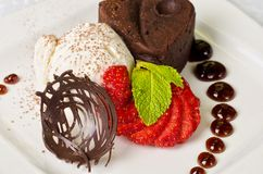 Chocolate flan. With strawberries and chocolate, a wonderful dessert Royalty Free Stock Image