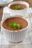 Chocolate flan. In a ramekin closeup Stock Photo