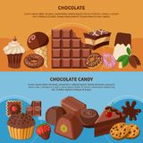 Chocolate Flat Banners royalty free illustration