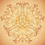 Chocolate floral ornament mandala background card Royalty Free Stock Image