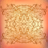 Chocolate floral ornament mandala background card Royalty Free Stock Images