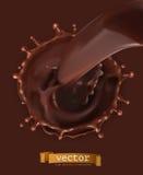 Chocolate flow, drops and splash. vector icon Stock Photos