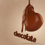 Chocolate flow on heart shape Royalty Free Stock Photo